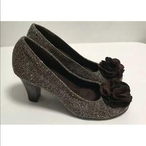 Aerosoles Admirole 6M Brown Tweed Heels Flowers